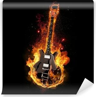 E Gitarre unter Feuer Washable Wall Mural