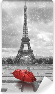 Eiffel tower in the rain. Black and white photo with red element Washable Wall Mural