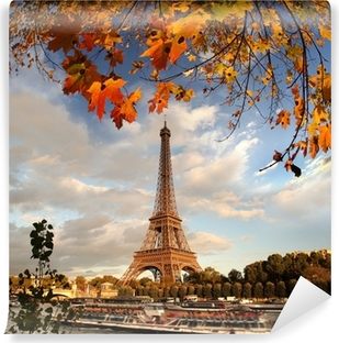 Eiffel Tower with autumn leaves in Paris, France Washable Wall Mural