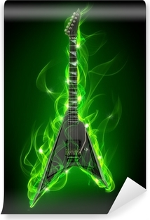 Electric guitar in green fire and flame Washable Wall Mural