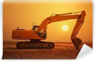 excavator loader machine during earthmoving works outdoors Washable Wall Mural