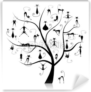Family cats tree, 27 black silhouettes funny Washable Wall Mural