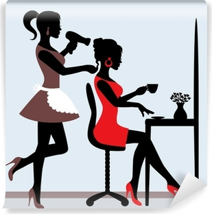 female silhouette in hairdressing salon. Washable Wall Mural