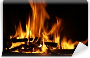 Fire in a fireplace, fire flames on a black background Washable Wall Mural