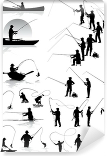 Fisherman vector silhouettes Washable Wall Mural