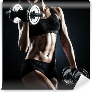 Fitness with dumbbells Washable Wall Mural
