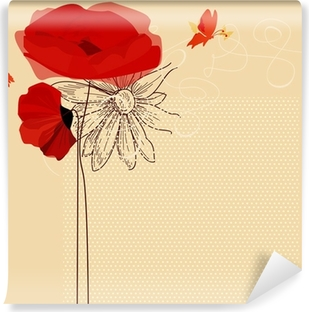 Floral invitation, poppies and butterfly vector Washable Wall Mural