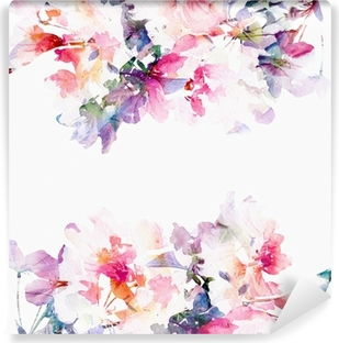 Floral watercolor background. Roses. Washable Wall Mural
