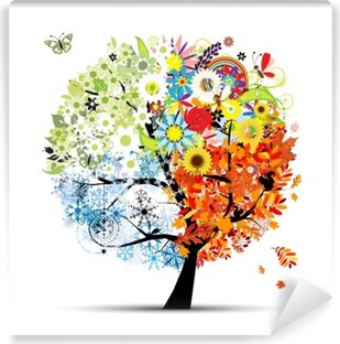 Four seasons - spring, summer, autumn, winter. Art tree Washable Wall Mural