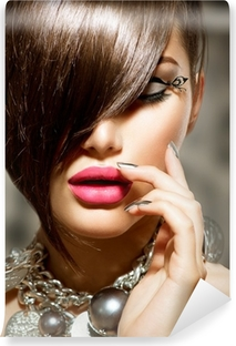 Fringe. Beauty Sexy Model Girl with Perfect Makeup and Manicure Washable Wall Mural