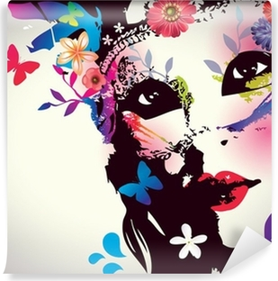 Girl with mask/Vector illustration Washable Wall Mural
