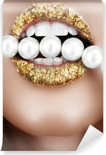 Gold leaf mouth with pearls Washable Wall Mural