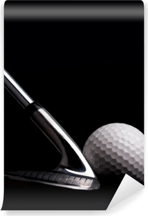 golf club with ball on black background Washable Wall Mural