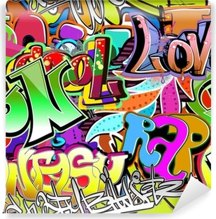 Graffiti wall. Urban art vector background. Seamless pattern Washable Wall Mural