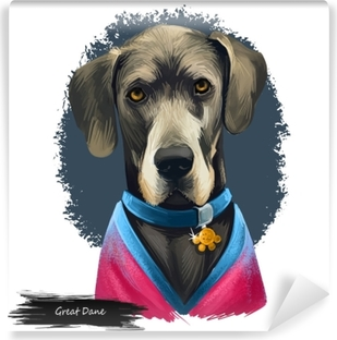Great Dane, Deutsche Dogge, German Mastiff dog digital art illustration isolated on white background. Germany origin working, guardian dog. Pet hand drawn portrait. Graphic clip art design Washable Wall Mural