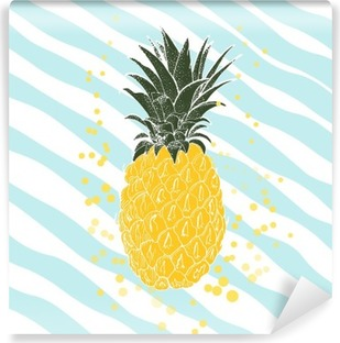 Hand drawn pineapple. Vector background Washable Wall Mural