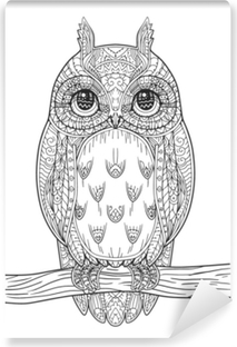 Hand Drawn Vector Owl Zentangle Style Black And White