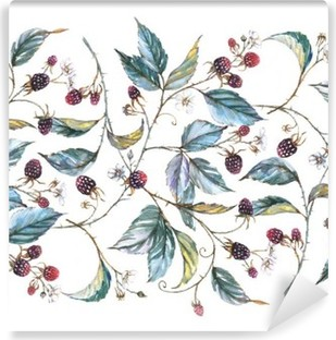 Hand-drawn watercolor seamless ornament with natural motives: blackberry branches, leaves and berries. Repeated decorative illustration, border with berries and leaves Washable Wall Mural