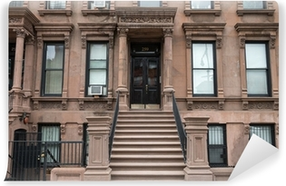 Harlem New York brownstone buildings Washable Wall Mural
