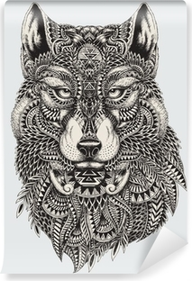Highly detailed abstract wolf illustration Washable Wall Mural