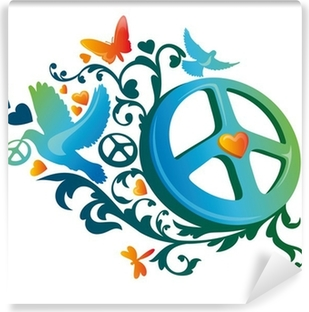 hippie peace symbol Washable Wall Mural