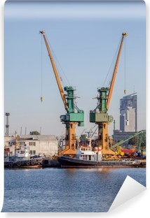 Industrial view - port of Gdynia, Poland Washable Wall Mural