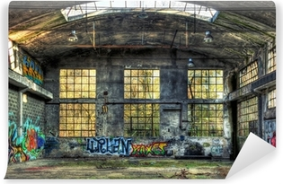 Interior of a derelict industrial building Washable Wall Mural