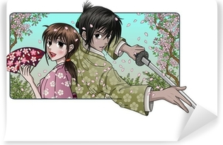 Japanese lady and proud samurai - sakura background Washable Wall Mural