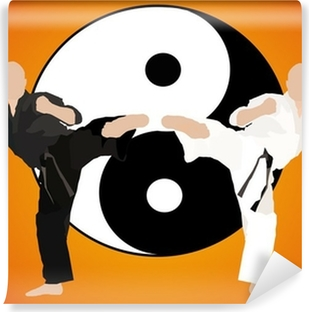 karate - fight duel (jing jang) Washable Wall Mural