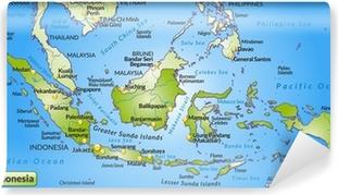 Landkarte von Indonesien mit Hauptstädten und Nachbarländern Washable Wall Mural