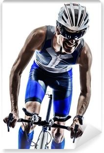 man triathlon iron man athlete cyclists bicycling Washable Wall Mural