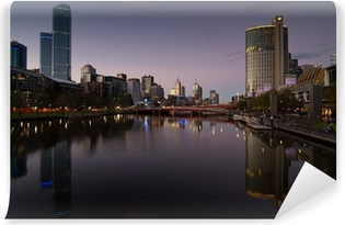 Melbourne at night Washable Wall Mural