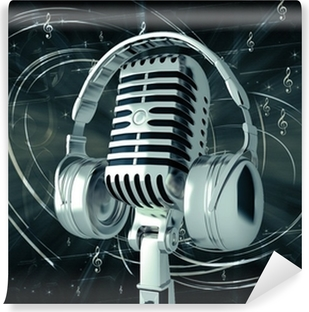 Microphone with headphones on musical background Washable Wall Mural