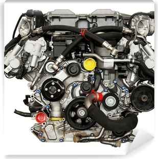 Modern powerful cars engine. Clipping path included. Washable Wall Mural