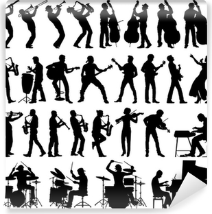Musicians vector silhouettes Washable Wall Mural