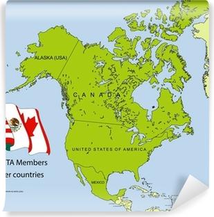 NAFTA map Washable Wall Mural