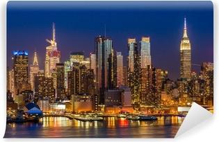 New York City Manhattan midtown buildings skyline night Washable Wall Mural