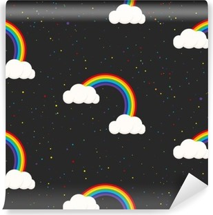 Night sky fantasy kid seamless pattern. Star confetti, clouds and rainbow boy grey wallpaper and fabric design. Washable Wall Mural