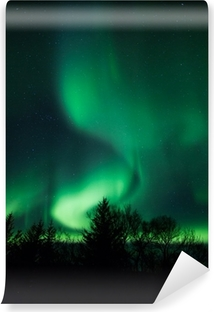 Northern lights above lagoon in Iceland Washable Wall Mural