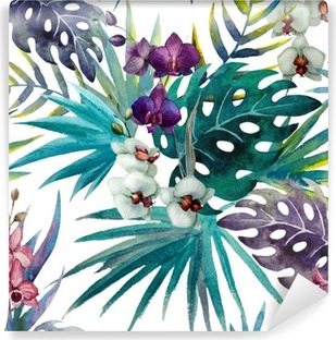 Orchid hibiscus leaves pattern, watercolor Washable Wall Mural