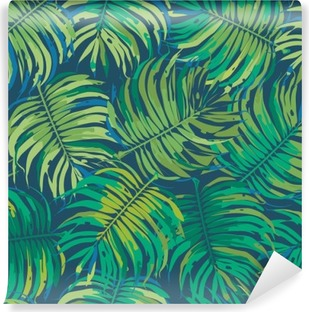 Palm Leaves Tropic Seamless Vector Pattern Washable Wall Mural