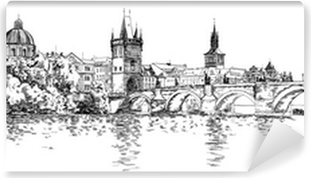 Panorama of Prague. View of Charles Bridge and the Vltava river Washable Wall Mural