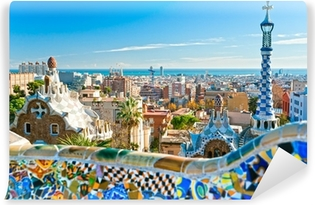 Park Guell in Barcelona, Spain. Washable Wall Mural
