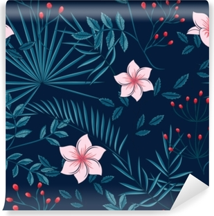 pattern of leaves of a palm tree and flowers on a dark background Washable Wall Mural