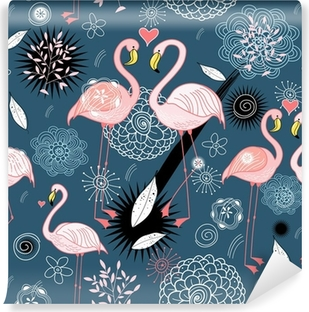 pattern of love flamingos Washable Wall Mural