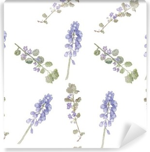 Pattern purple flowers. Field flowers, fine grass pattern watercolor Washable Wall Mural