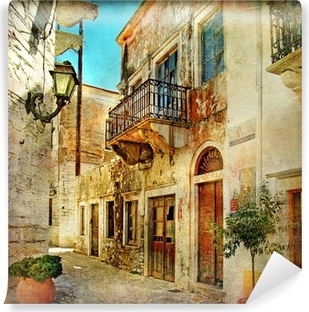 pictorial old streets of Greece Washable Wall Mural