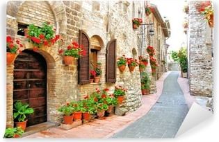 Picturesque lane with flowers in an Italian hill town Washable Wall Mural