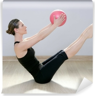 pilates woman stability ball gym fitness yoga Washable Wall Mural