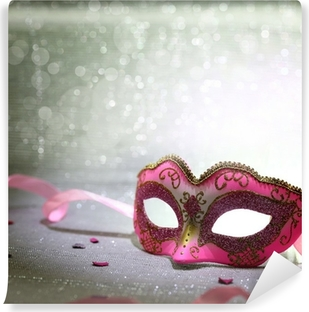 Pink carnival mask with glittering background Washable Wall Mural